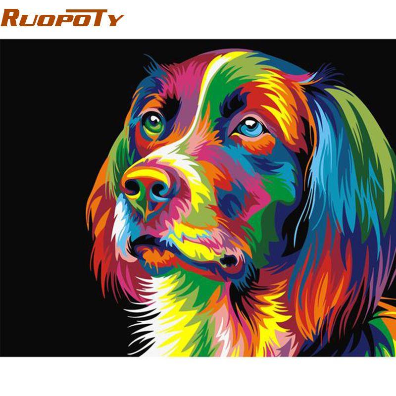 RUOPOTY bricolage cadre coloré chien peinture à la main par numéros Kits acrylique peint à la main peinture à l'huile pour décor à la maison boîte envoyer 40x50 cm
