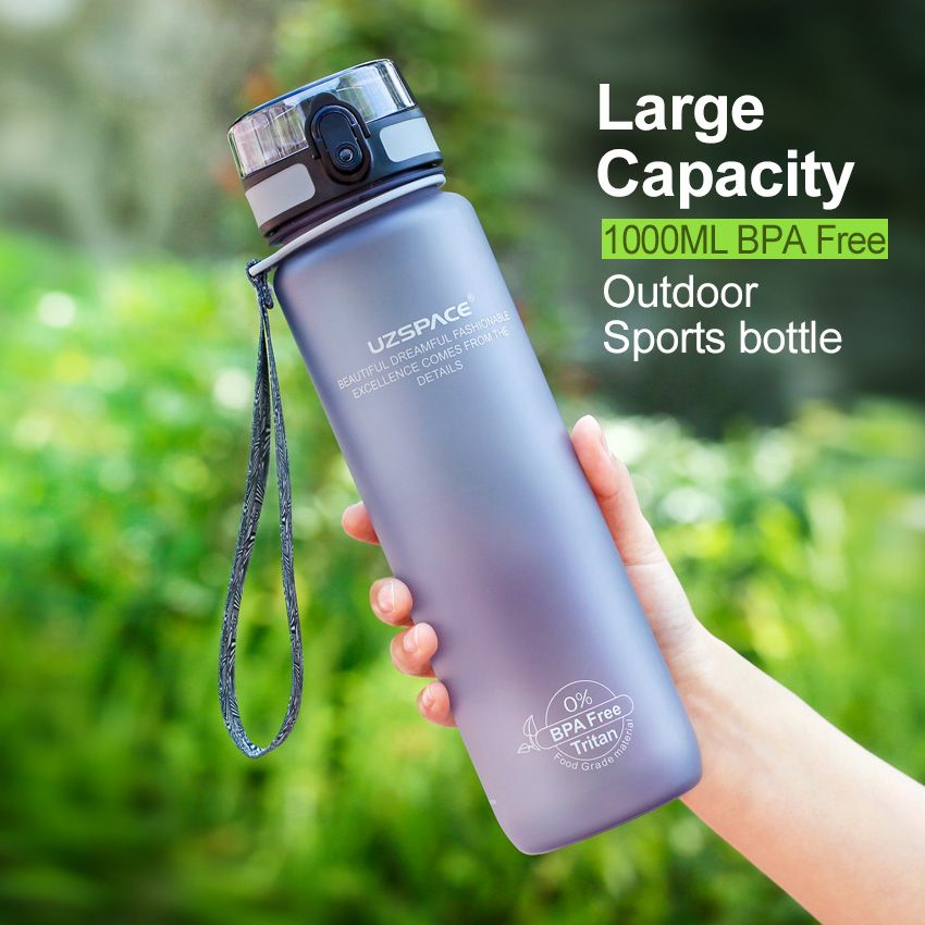 UZSPACE 1000ML BPA free Water Bottles protein Shaker Scrub Portable Space Adult Sports cycling travel camping Hiking My Bottles