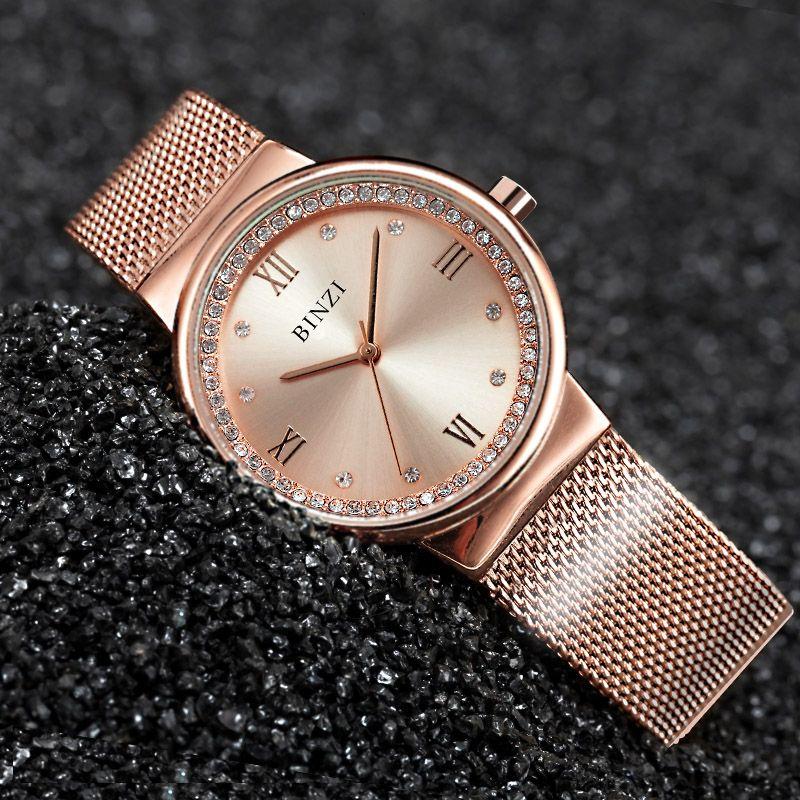 2017 New Rosegold Quartz Women Watches Diamond Clock Women Waterproof Ultrathin Dress Ladies Watch Relogio Feminino