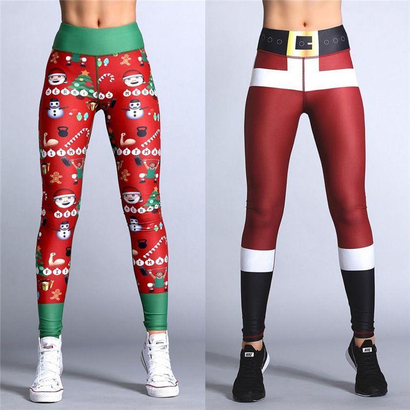 2018 Hayoha De Noël Impression Leggings Mis Hanche Élastique Taille Haute Legging Respirant Joyeux Noël Pantalon