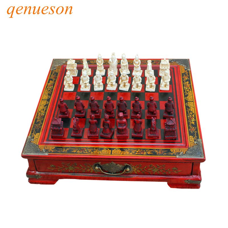 Vintage Collection Chess Chinese Terracotta Warriors Chess Wood Carving Resin Chessman Christmas Birthday Premium Gifts qenueson