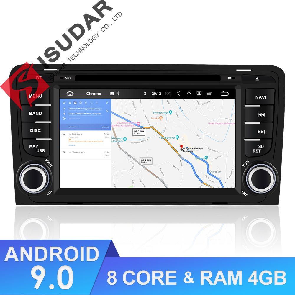 Isudar 2 din Auto Radio Android 9 Für A3/S3/Audi 2002-2013 GPS Octa Core RAM 4G ROM 64G Auto Multimedia-Player Kamera DSP USB DVR