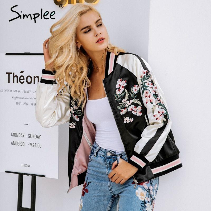 Simplee Reversible embroidery satin jacket coat sukajan Autumn winter 2017 flower basic jackets women Casual baseball jackets