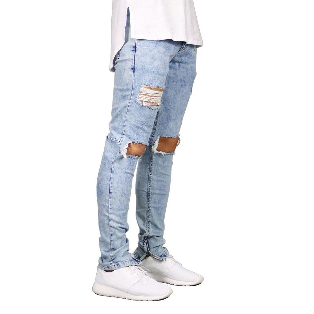 Hommes Jeans Stretch détruit déchiré Design mode cheville fermeture éclair Skinny Jeans pour hommes E5020