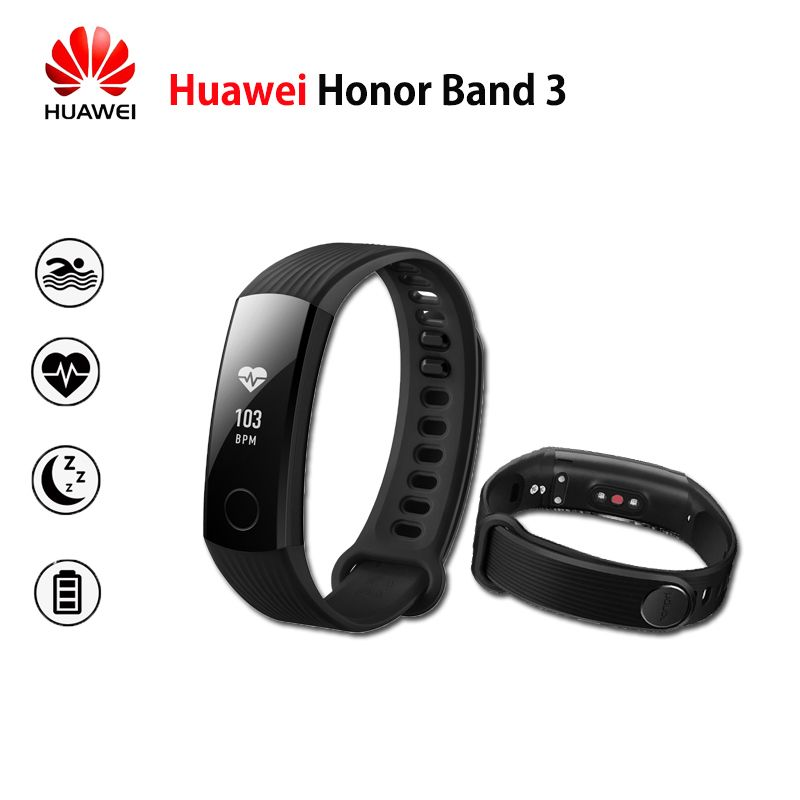 New Original Huawei Honor Band 3 Smart Wristband Swimmable 5ATM OLED Screen Touchpad Continual Heart <font><b>Rate</b></font> Monitor Push Message