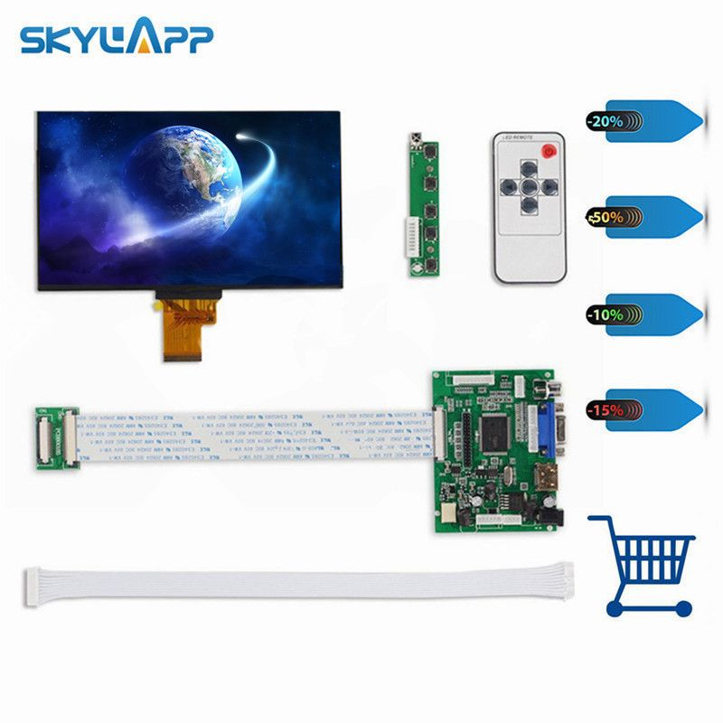 Skylarpu <font><b>1024</b></font>*600 IPS Screen Display LCD TFT Monitor EJ070NA-01J with Remote Driver Control Board 2AV HDMI VGA for Raspberry Pi