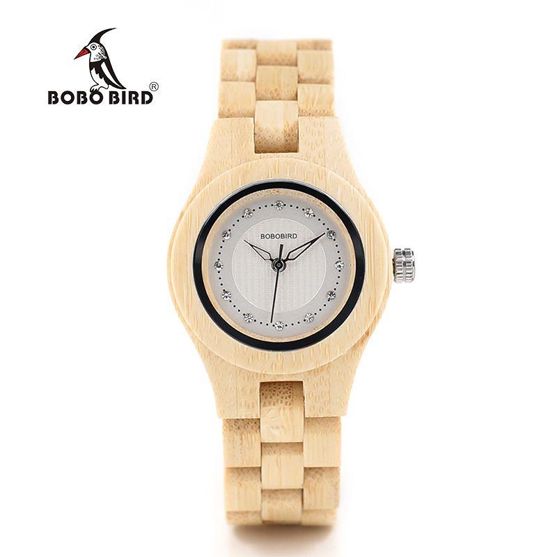 BOBO BIRD O10 Bamboo Women Watches Crystal Dial Ladies Quartz Dress Watch in Wooden Box