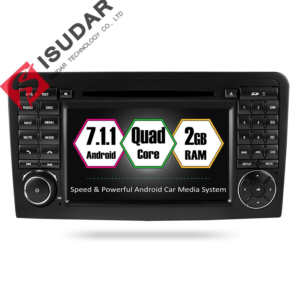 Isudar Two Din Car Multimedia player GPS Android 7.1.1 DVD Player For Mercedes/Benz/ML/GL CLASS W164 ML350 ML500 GL320 Radio FM
