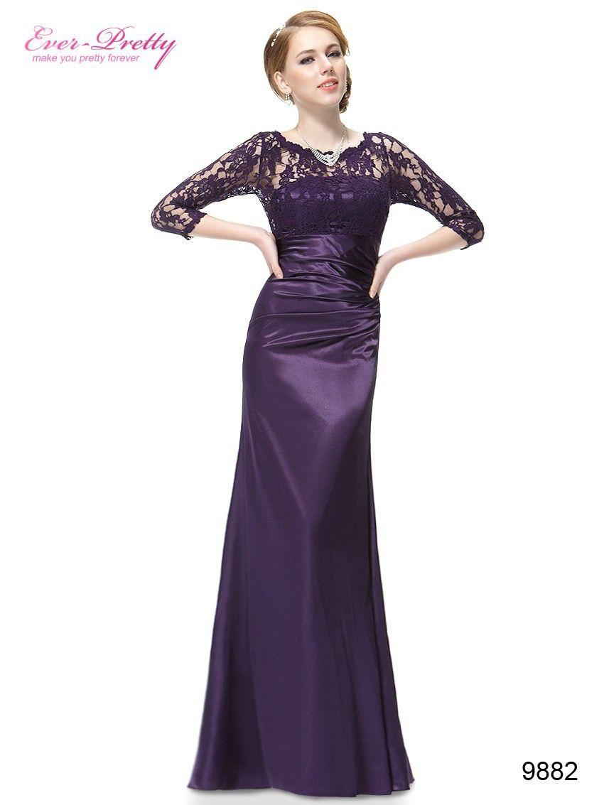 Elegant Evening Dresses Lace Women's Long Purple 2017 Black Ever Pretty EP09882 Floor Length Gown Fast Shipping Evening Dresses