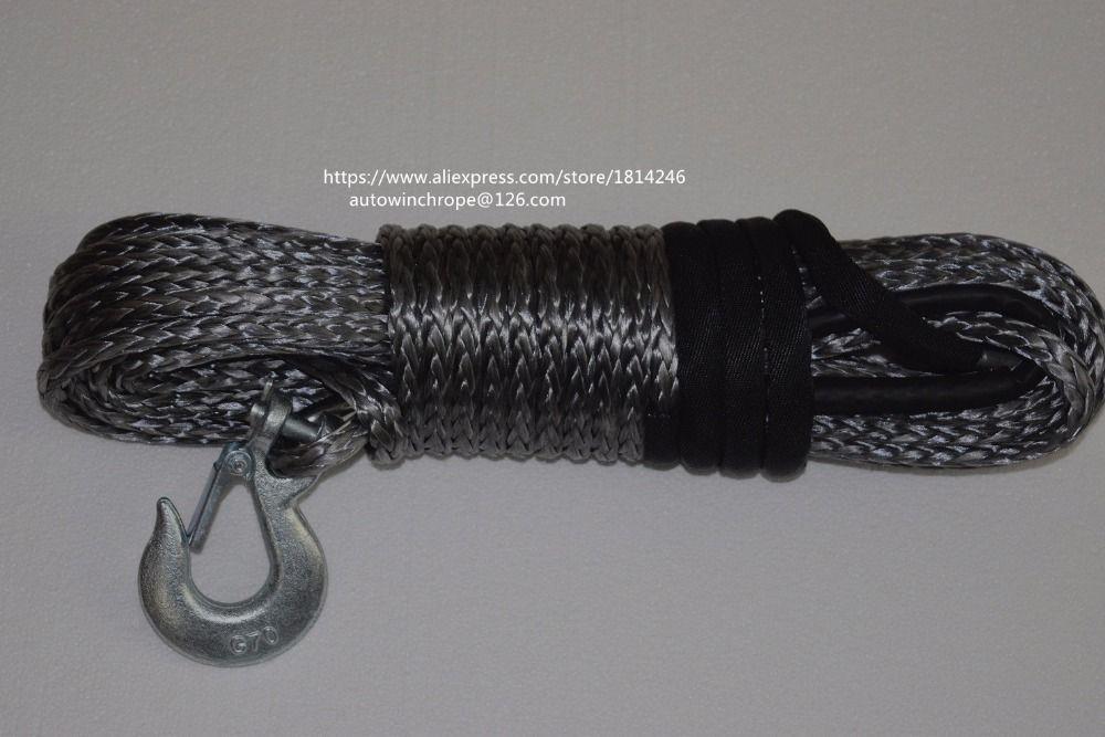 Grey10mm * 30 mt Synthetische Seil, Boot Winde Kabel, Kevlar Seil, Spectra Seil, Windenseil mit G70 Haken