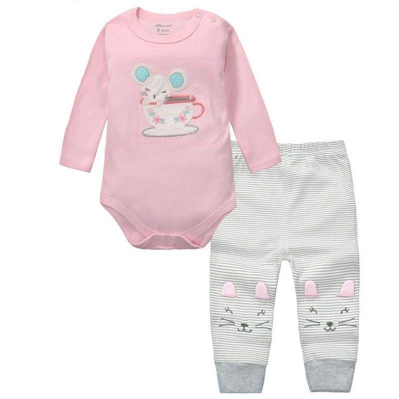 2 pièces bébé filles garçons vêtements ensemble à manches longues barboteuses et pantalons Roupa Infantil Menina Menino Bebe nouveau-né vêtements chine KF092