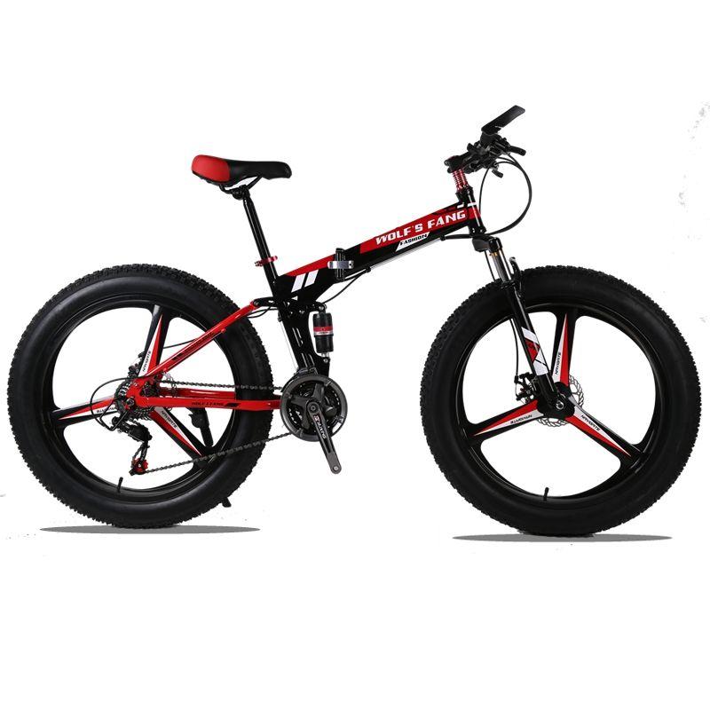 Mountain Bike 26x4.0 Folding Bicycle 24 speed road bike fat bike variable speed bike Front and Rear Mechanical Disc Brake