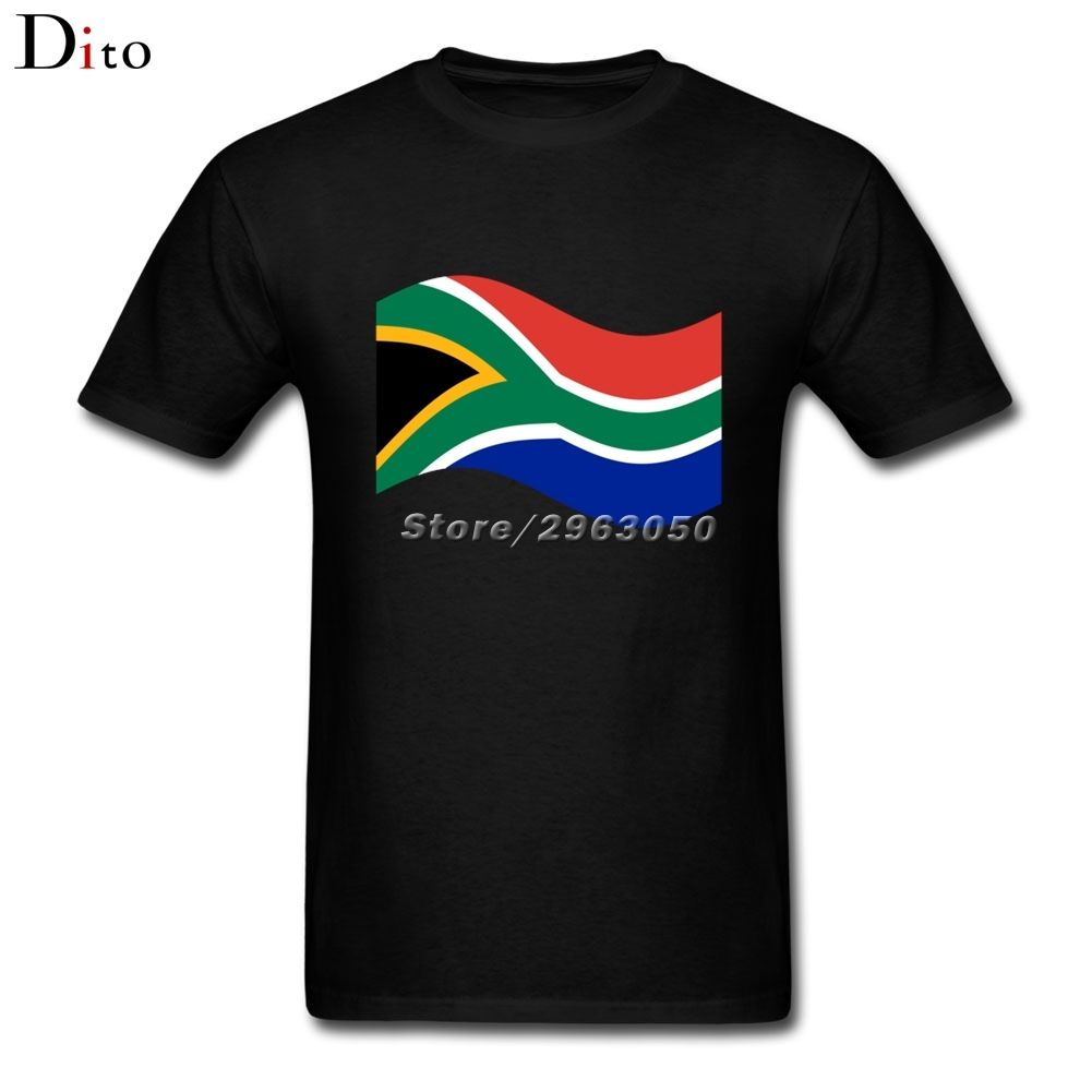South africa flag Wave Tee Shirt For Men Camisa De Basquete Short Sleeve Crewneck Cotton XXXL Family  Shirts