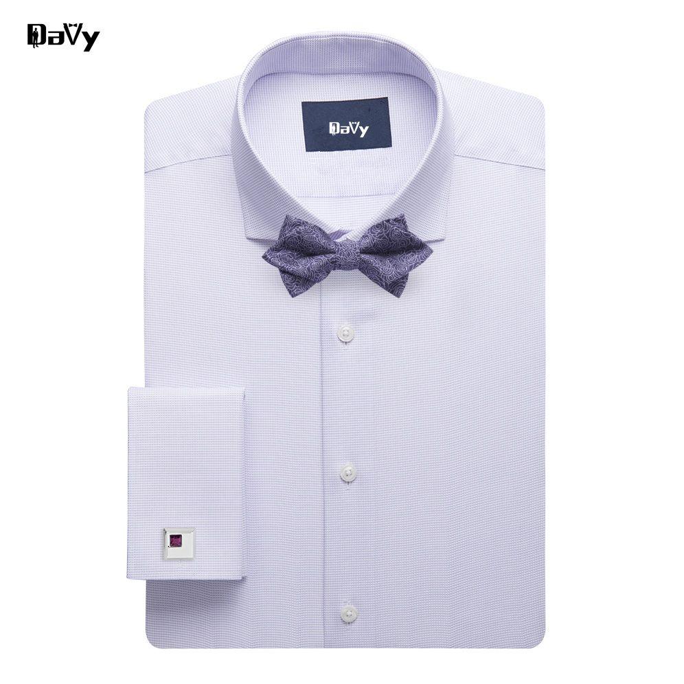 Frech Cufflinks Custom Made Wedding Bridegroom Tuxedo Shirt Men Wedding Groom Dress Shirt Plus Size Solid Striped Plaid Style