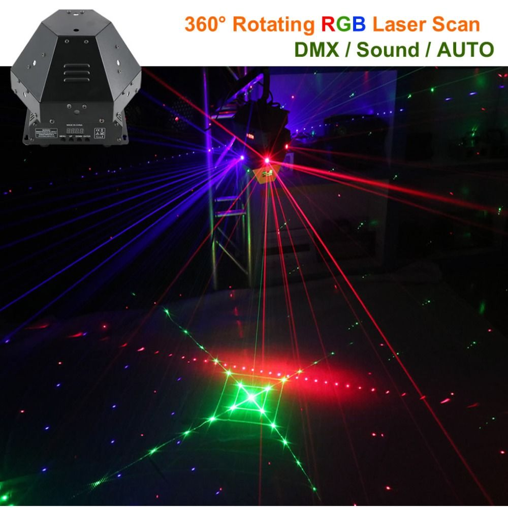 AUCD 360 Degree 11 Lens RGB Rotating Laser Move Beam Gobos Light DMX Professional Bar Party Disco Show DJ Stage Lighting DJ-360R