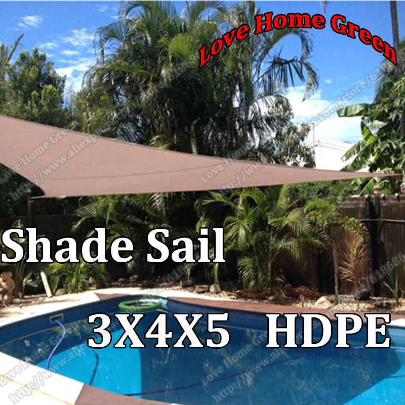 New HDPE Triangular Sun Shade Net Combination Shade Sail garden HDPE Awning Canopy 3X4X5M