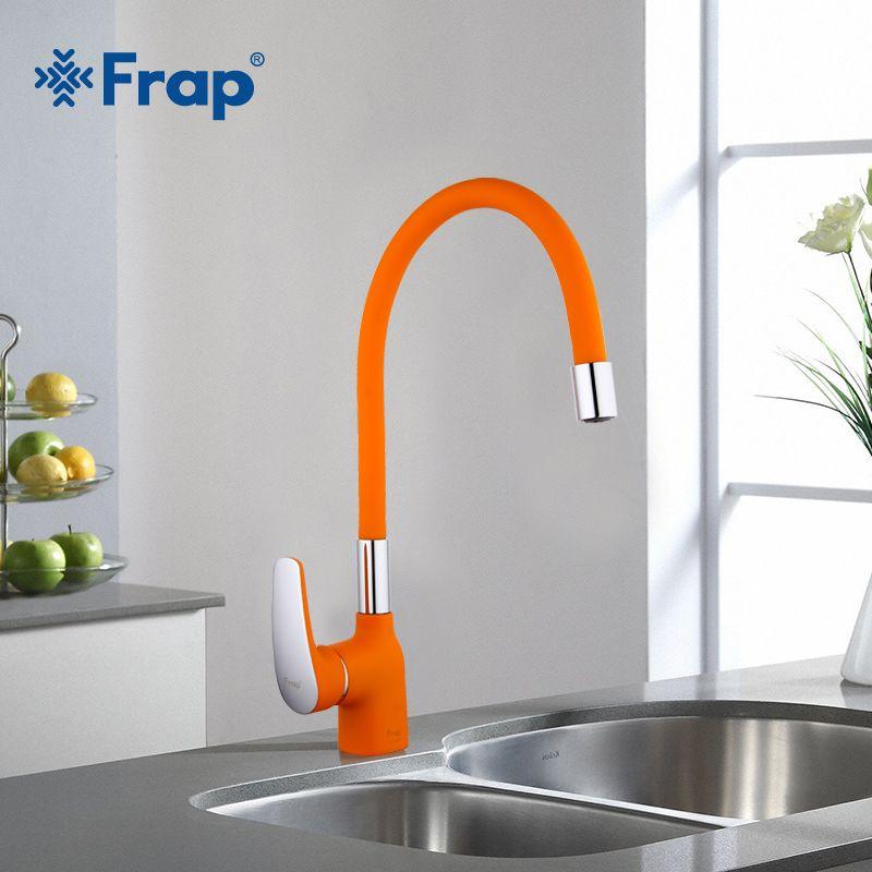 Frap Новое поступление оранжевый силикагель нос любое направление Кухня кран холодной и горячей воды смеситель torneira Cozinha кран f4453-02