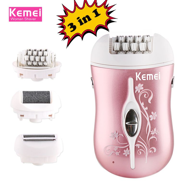 kemei rechargeable 3 in 1 lady epilator electric hair remover device depilador hair shaver removal for women foot care tool