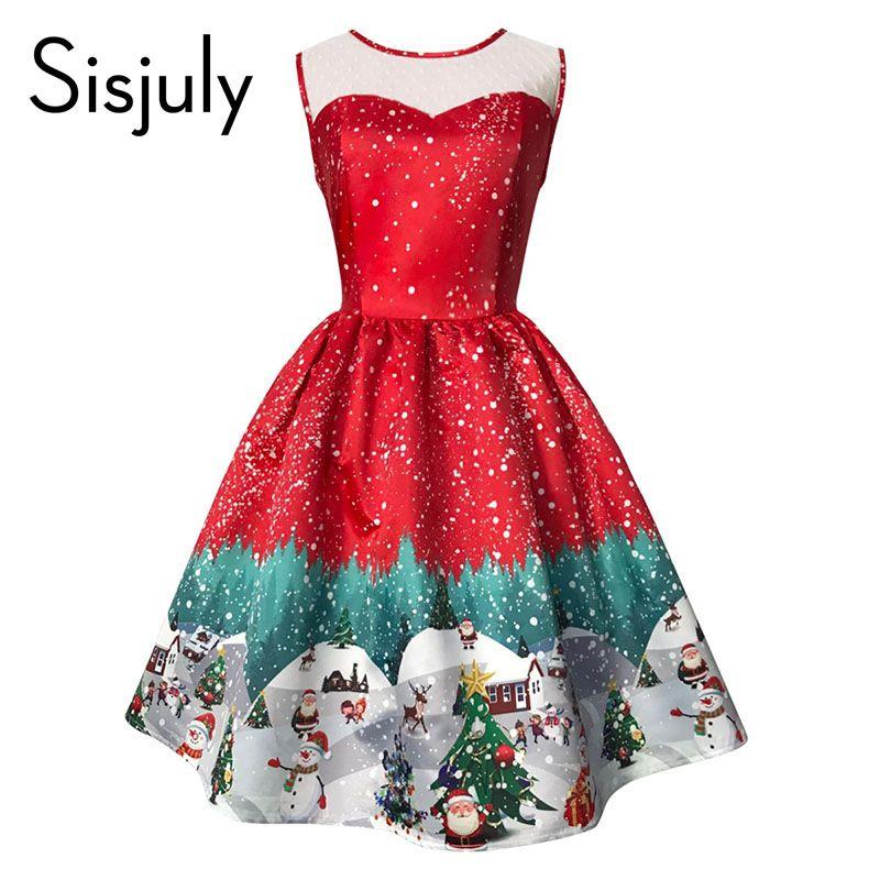 Sisjuly vintage vestido de Navidad mujeres sin mangas de la impresión del vestido del verano del partido del vestido de noche elegante del vestido de la vendimia caliente 2017