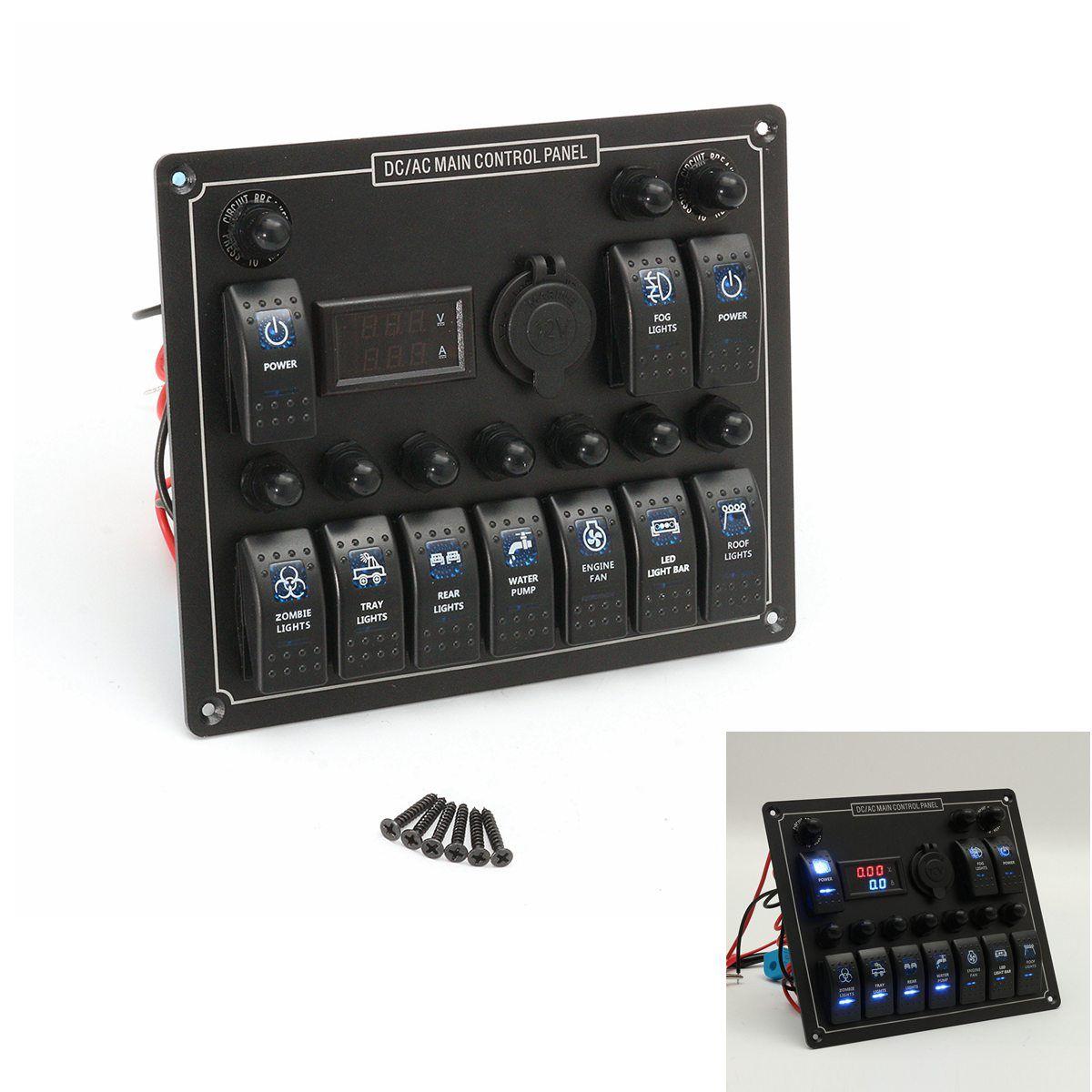 12-24V 10 Gang Boat Marine Blue LED Rocker Switch Panel Circuit Breaker Voltmeter