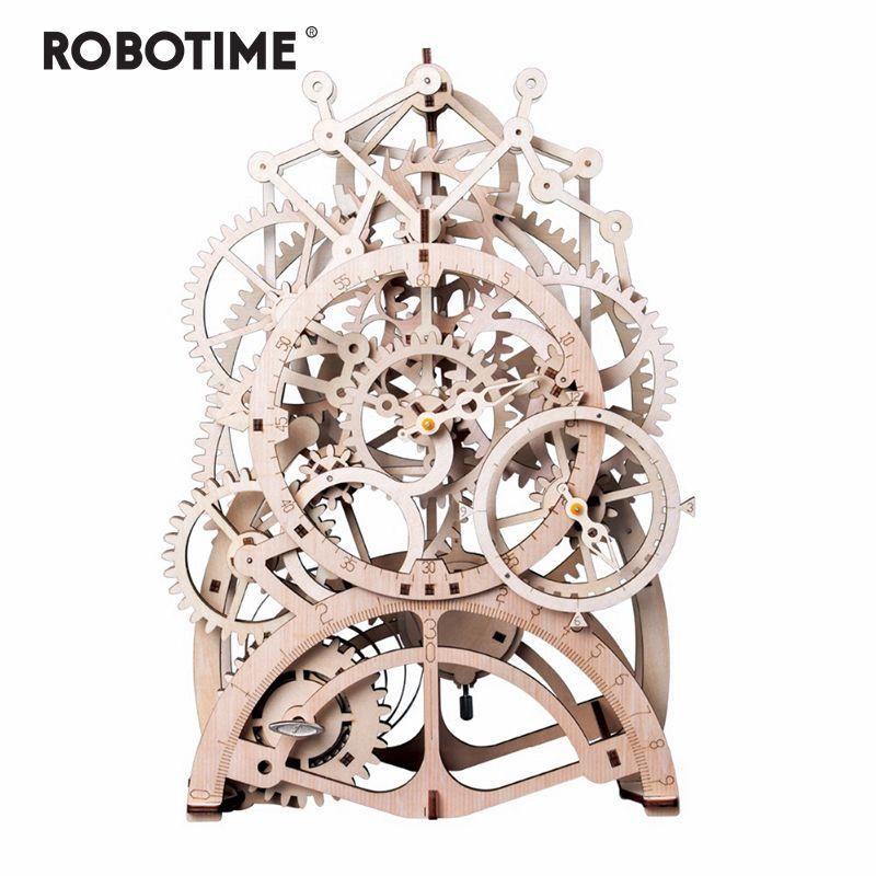 Robotime 4 sortes bricolage Laser découpe 3D modèle mécanique en bois Puzzle jeu assemblage jouet cadeau pour enfants adulte pour livraison directe