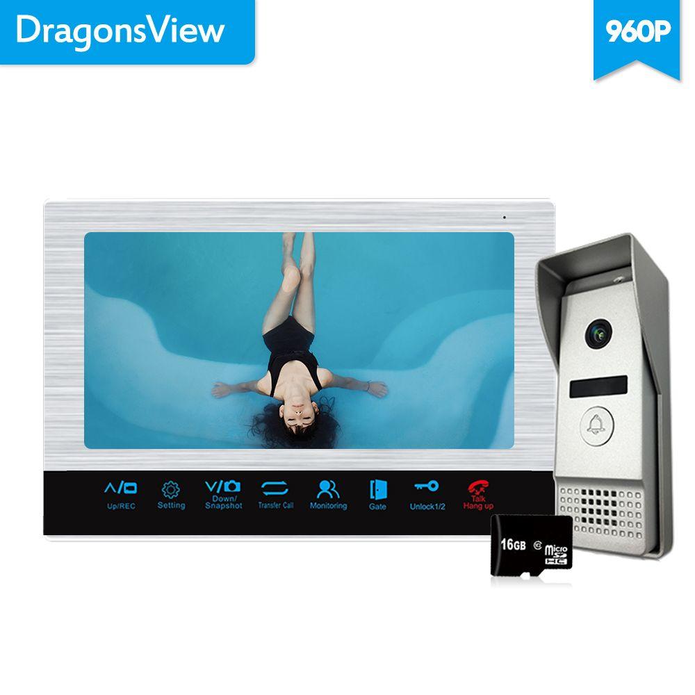 Dragonsview 960P 10 zoll Video Tür Telefon Türklingel Intercom System Weitwinkel 2,3mm Objektiv Video Aufnahme 16GB SD karte AHD