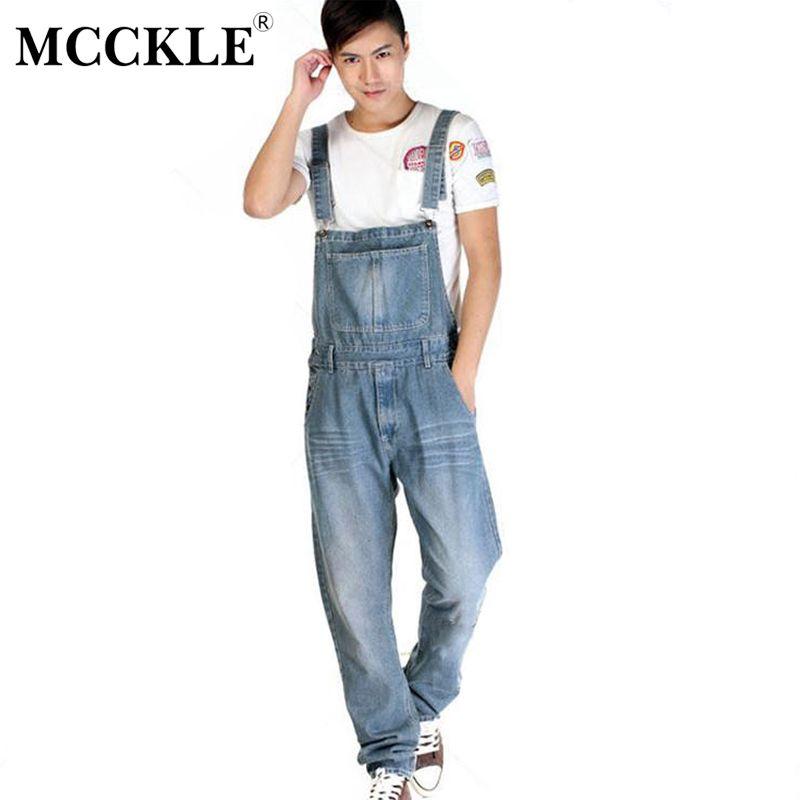 MCCKLE Men's BiB Overalls Jeans Fashion Vintage Washed Straigth High Waist Light Blue Loose Jeans Jumpsuit Men Plus Size XS-5XL