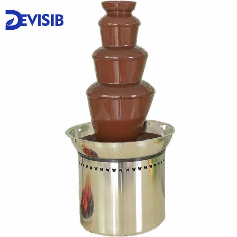 DEVISIB 4 Tier Kommerziellen Schokolade Brunnen Fondue mit Edelstahl 304 Material Weihnachten Hochzeit Veranstaltung Partei Liefert
