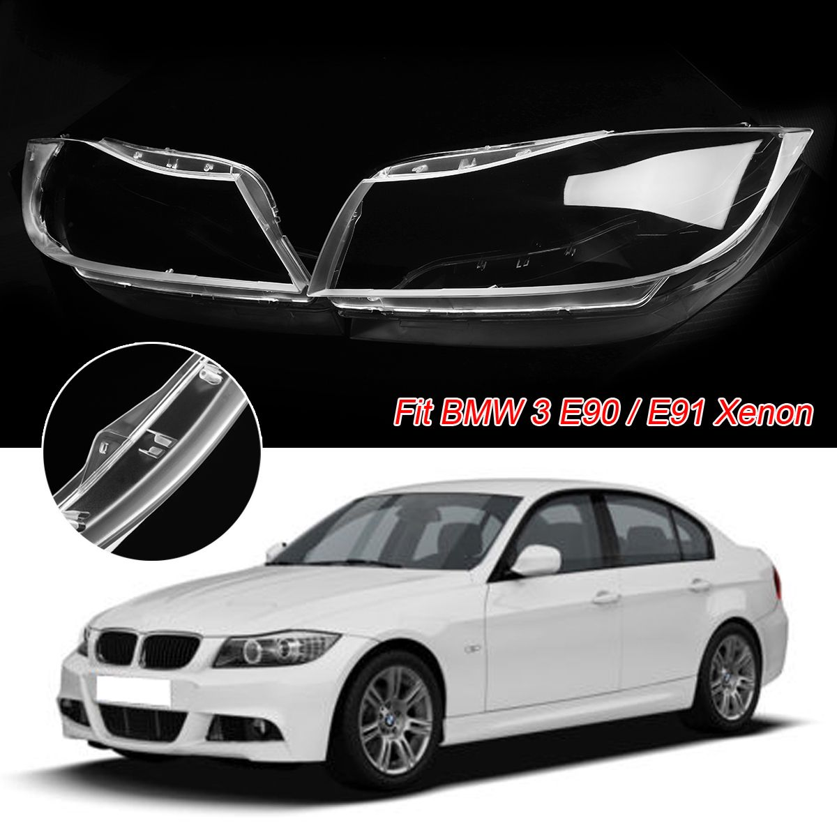 1Pair Polycarbonate Headlight Headlamp Clear Lens Replacement Covers Case Shell for BMW 3 E90 Sedan / E91 Touring Only XENON