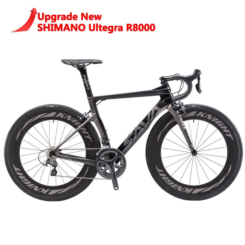 SAVA 700C Road Bike T800 Carbon Road bike Racing road bike Carbon Bicycle SHIMANO Ultegra R8000 22 Speed Bicicleta 50MM 25C Tire