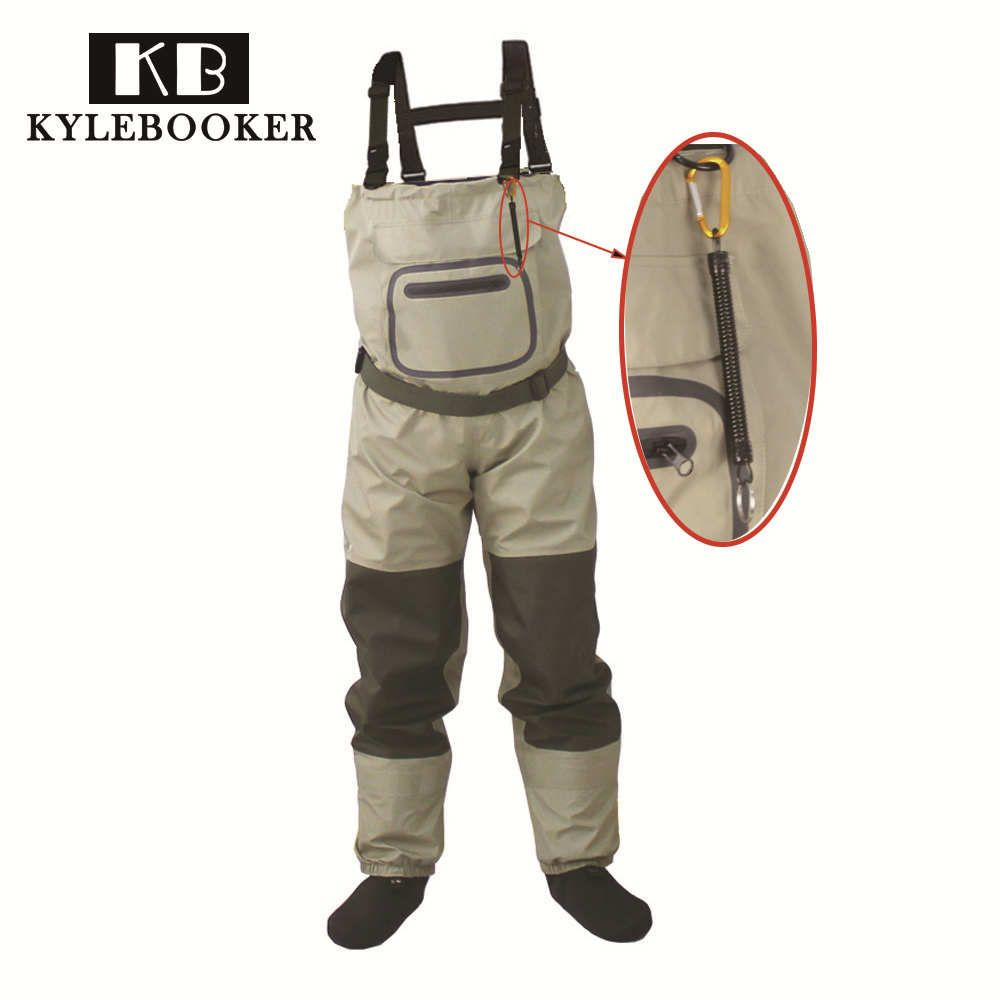 Outdoor Fly Fishing Stocking Foot ,waterproof and breathable chest waders with one buckle accidently rope kits