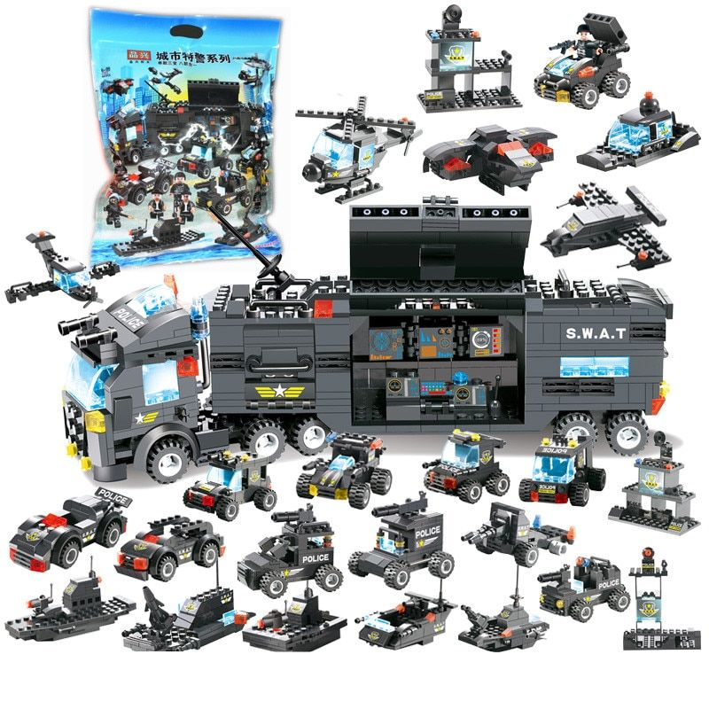 8IN1 Robot Aircraft Car City Police SWAT Bricks Compatible LegoINGL Building Blocks Sets Playmobil Educational Toys For Children