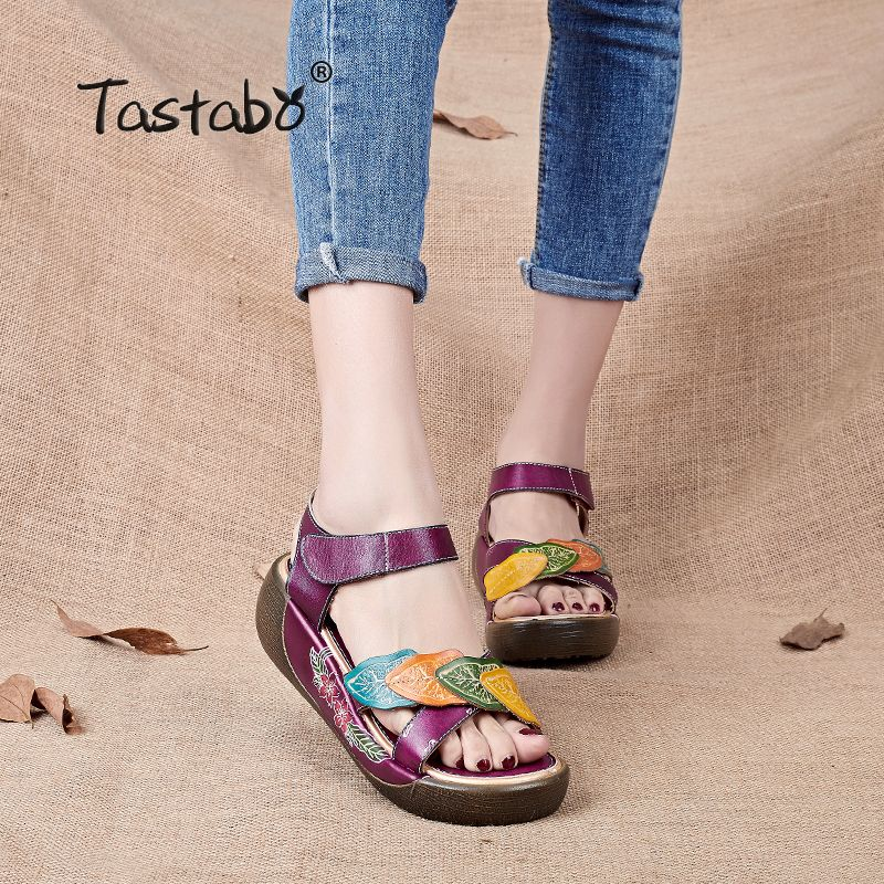 Tastabo Women Sandals 2017 Summer Genuine Leather Gladiator Sandals Women Shoe Fashion Flat Casual Shoe Handmade Sandals Female