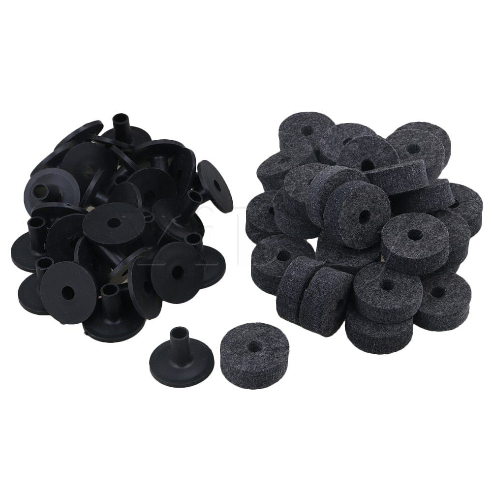 Yibuy Black Drum Set Replacement Parts Felt Washers + Plastic Long Cymbal Sleeves with Flange Base Pack of 20