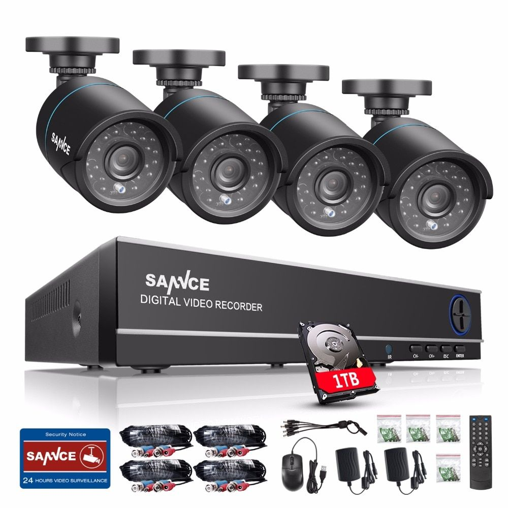 SANNCE 4CH 720P CCTV System 1080P HDMI DVR Kit 4PCS 720P 1.0MP Security Cameras 1200TVL Video Surveillance System 1TB HDD