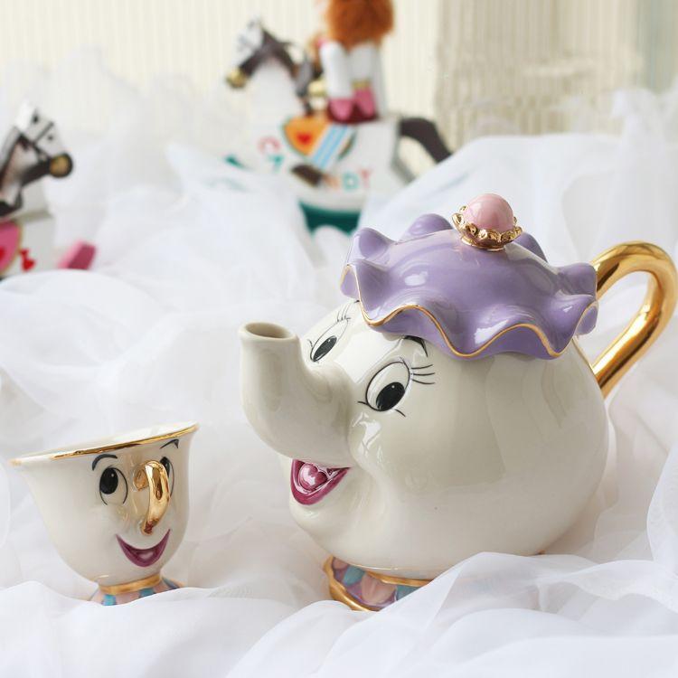 Offre spéciale style ancien dessin animé la belle et la bête théière tasse Mrs Potts puce thé Pot tasse un ensemble joli cadeau de noël livraison gratuite