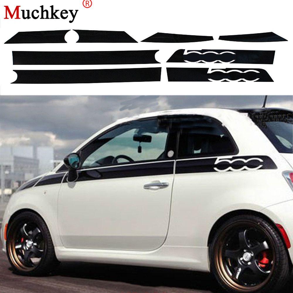 Pour Fiat 500 Creative voiture corps entier autocollant décoration voiture Protection autocollants voiture-style Auto accessoires 8 pièces par ensemble