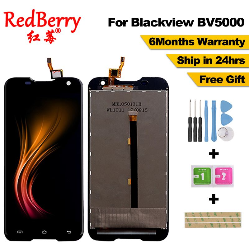 Redberry 100% Original For <font><b>Blackview</b></font> BV5000 LCD Display + Touch Screen 1280X720 5.0inch Assembly For <font><b>Blackview</b></font> BV5000+tools