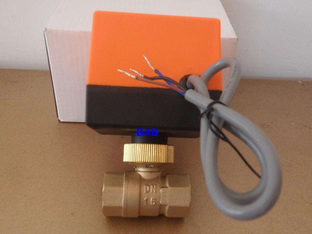 DN15(G 1/2) AC220V 2 way 3 wire motorized brass ball valve with electric actuator controller