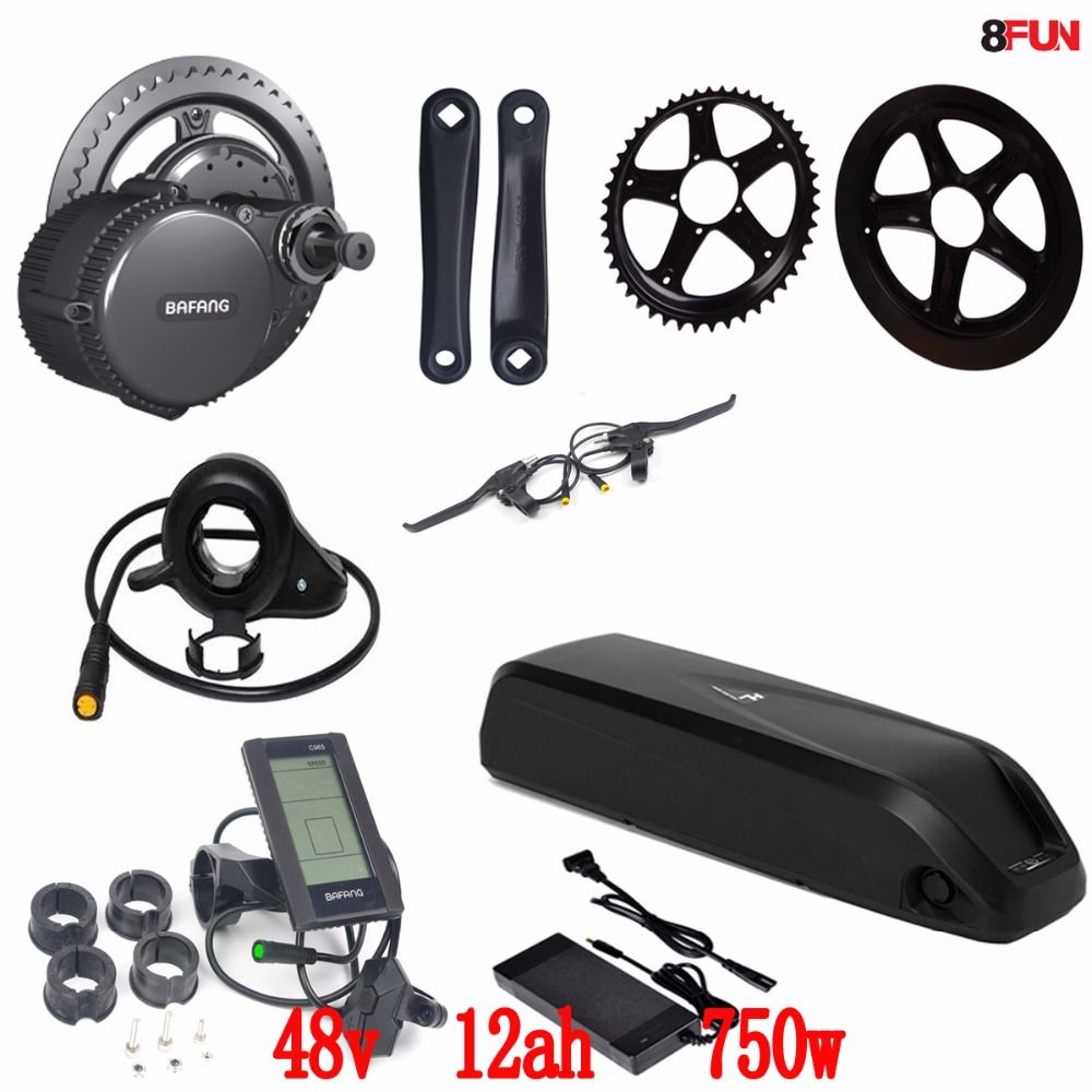BBS02 Bafang/8fun 48V 750W mid drive electric motor kit + 48V 11.6Ah Li-ion down tube ebike battery