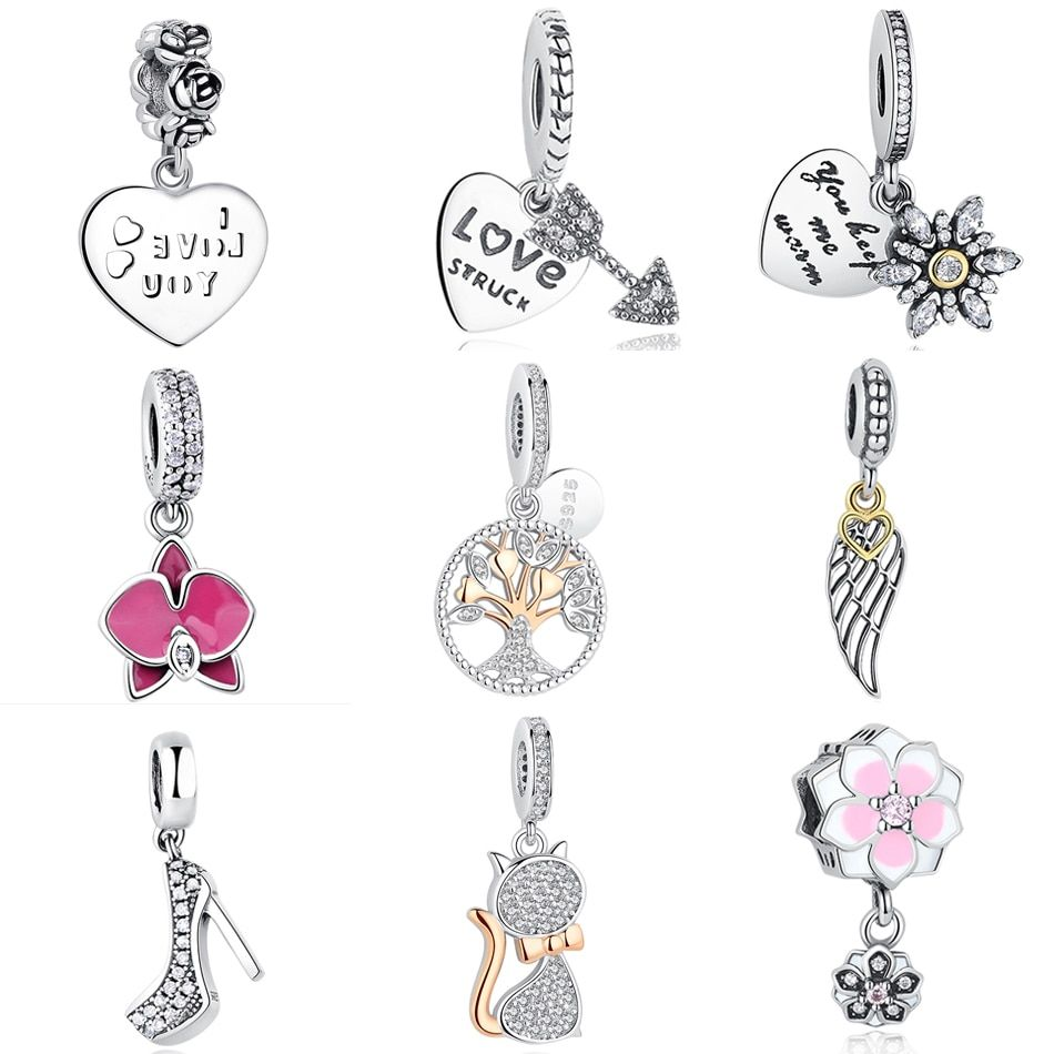 100% 925 En Argent Sterling Perles Émail Marguerite Mère Coeur D'amour Charme Balancent Fit Original Pandora Bracelet DIY Bijoux Accessoires