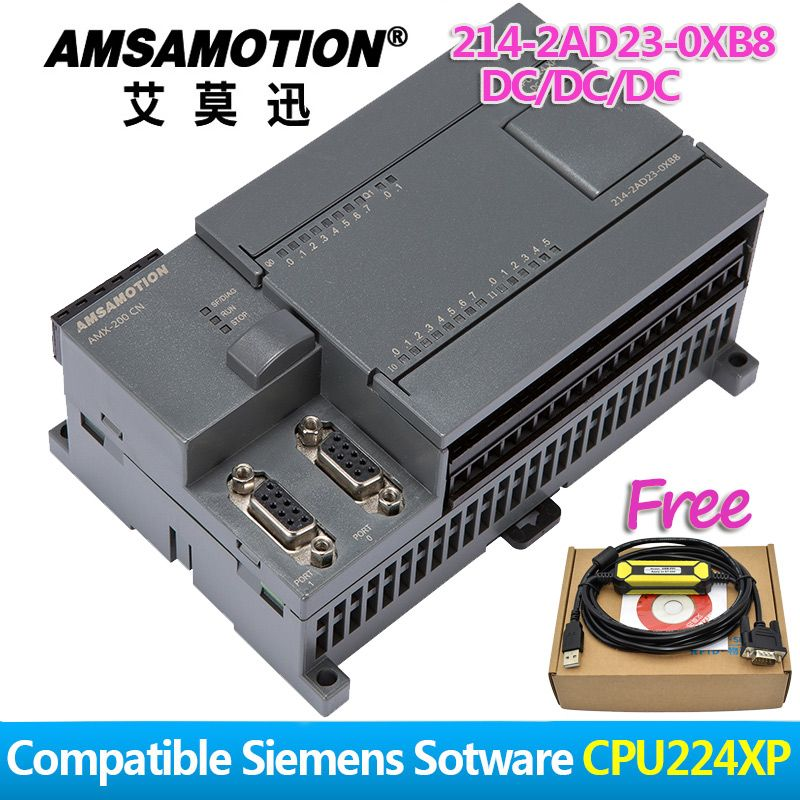 Amsamotion CPU224XP S7-200CN PLC DC/DC/DC 14 Input 10 Output 2AI/1AO 6ES7 214-2AD23-0XB8 Transistor Output Digital Input PLC