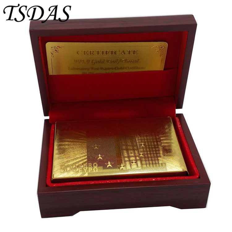 24 Karat 999,9 Vergoldete Spielkarte Euro 500 In Rot Box Poker Deck 99.9% Goldfolie Karten Heißer Verkauf in 2016