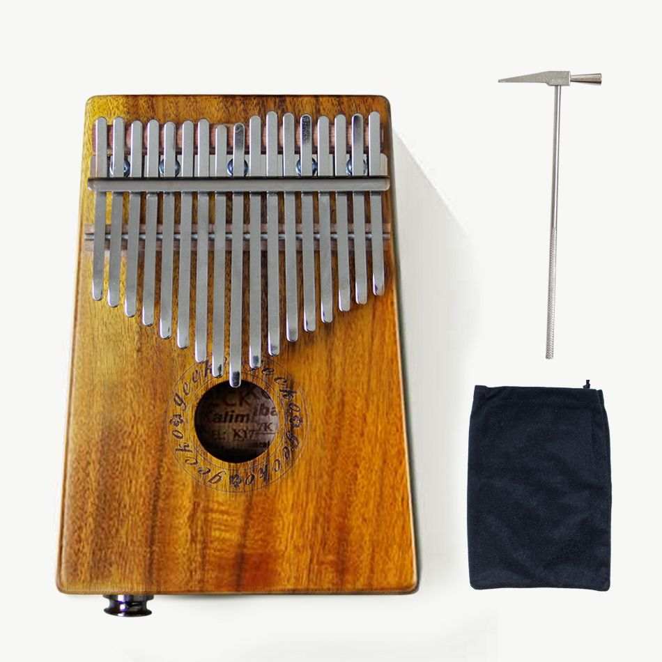 Gecko New 17 Key K17KEQ  Kalimba Connect the EQ  Solid KOA  African Thumb Piano Finger Percussion Keyboard Music Instruments