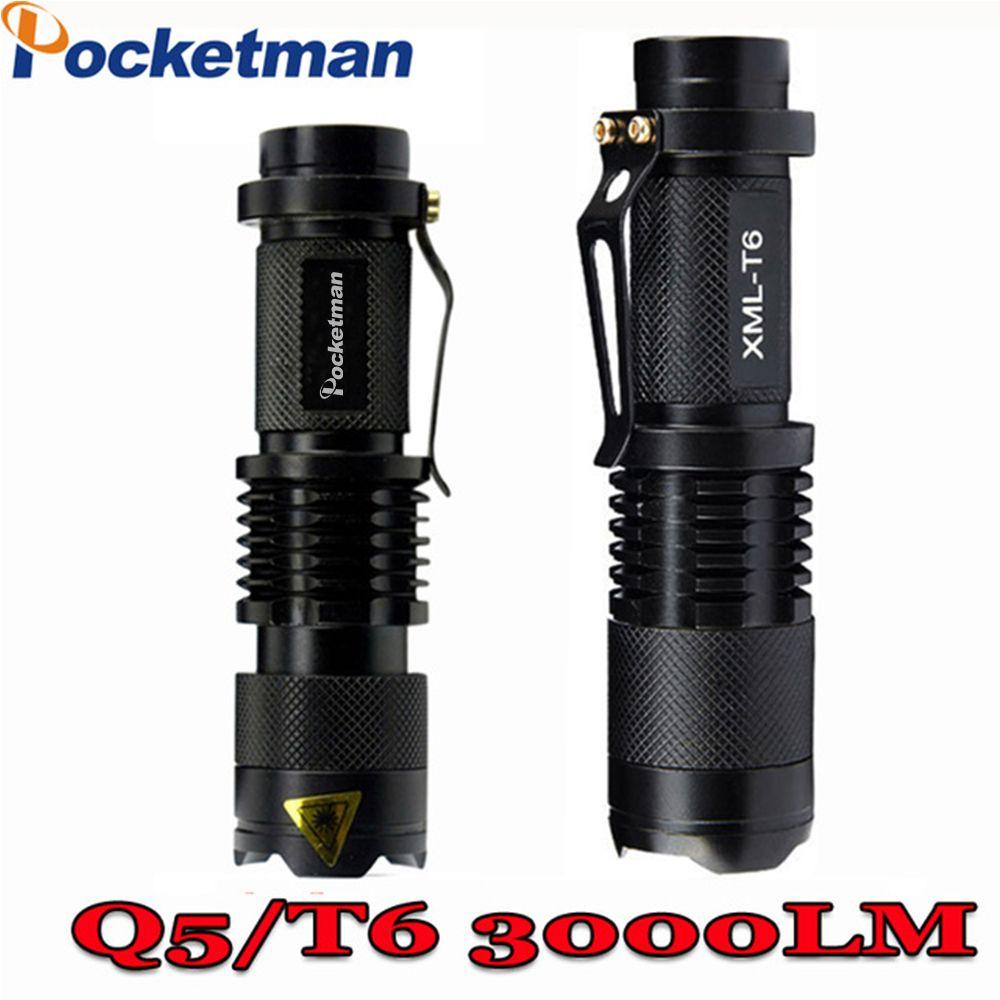 3000 люмен мини фонарик t6 q5 фонарик мощный Масштабируемые тактический фонарик водонепроницаемый светодиодный фонарик lanterna фонарик