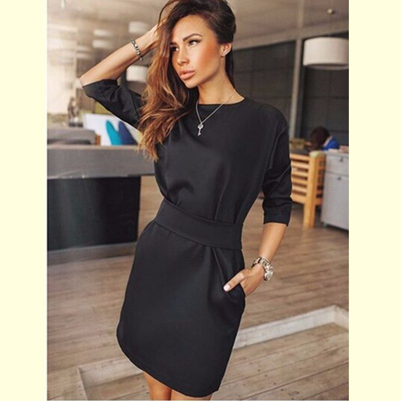 2017 Summer Dress Women Fashion Casual Mini Dress Solid Color Short  Sleeve O-neck Women Dress Two Side Pocket Black Dresses