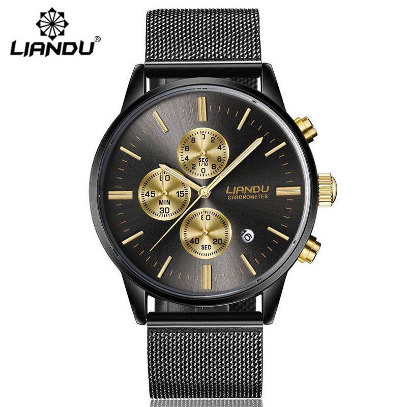 LIANDU Fashion Men's Luxury Chronograph Luminous Black Quartz Watch Simulated Stainless Steel Mesh With Watch zegarki <font><b>meskie</b></font>