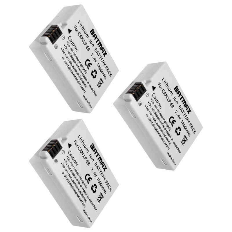 3pcs LP-E8 LP E8 LP E8 Rechargeable Camera Battery for Canon 550D 600D Rebel T2i EOS Kiss X4 Rebel T2i T3i T4i T5i batteries