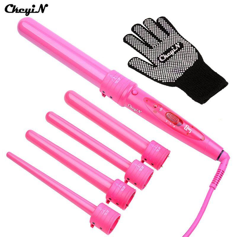5 в 1 щипцы для завивки волос 09-32 мм палочка бигуди с перчатки электрический Керамика волос Styler Кудри Профессиональный бигуди Ролики 495
