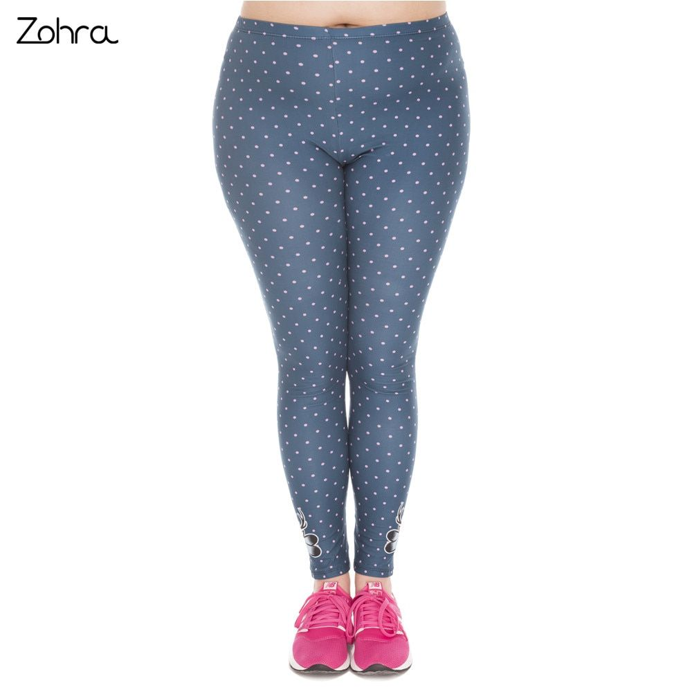 Zohra New Arrival Large Size Leggings Freeride Deer Printed High Waist Leggins Plus Size Trousers Stretch Pants For Plump Women